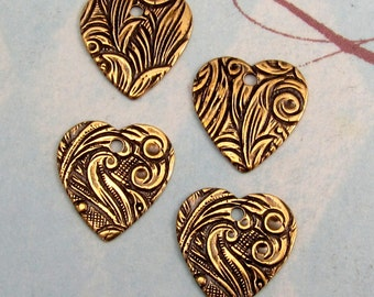 Embossed Floral Heart Charm Antique Gold Trinity Brass 4 Pc.  AG209