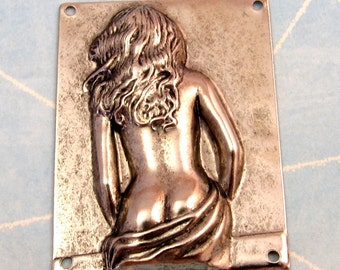 Woman Stamping, Antique Pewter K8