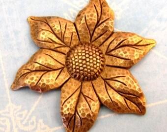 Flower Stamping, Large, Antique Gold K24