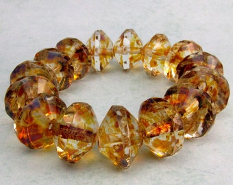 Czech Glass Saucer Beads, Crystal Picasso, 13x9 MM 6-Pieces C232