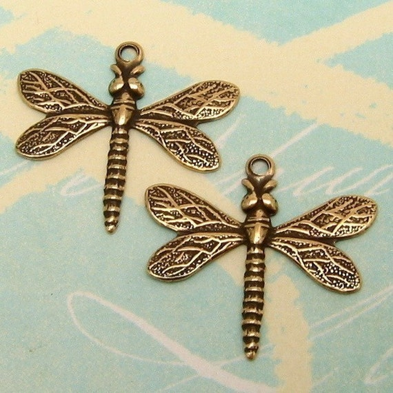 Small Dragonfly Charm Antique Gold Trinity Brass 2 Pc. AG171