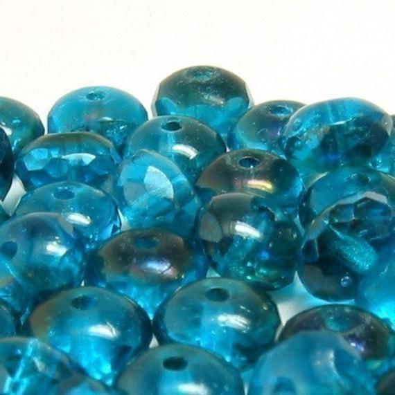 Czech Glass Beads Aqua Azuro 7mm Rondelles 25 Pc. C34