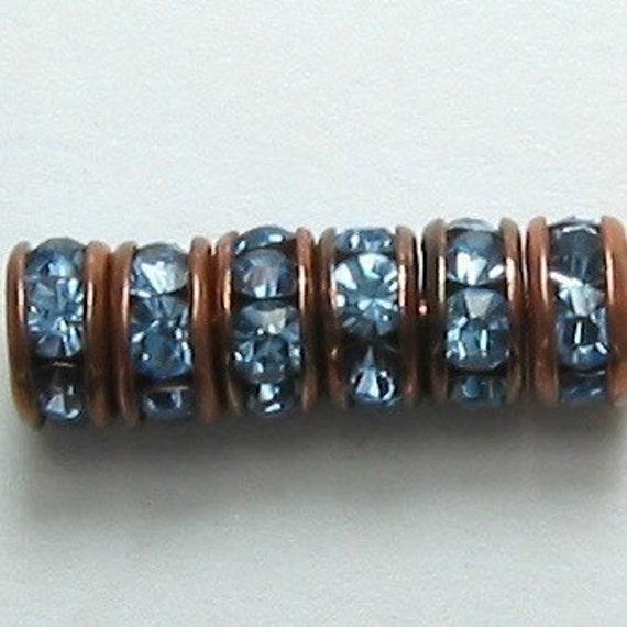 Rhinestone Rondelle Spacer Copper Light Sapphire 4.5 mm, 6 pc. C17
