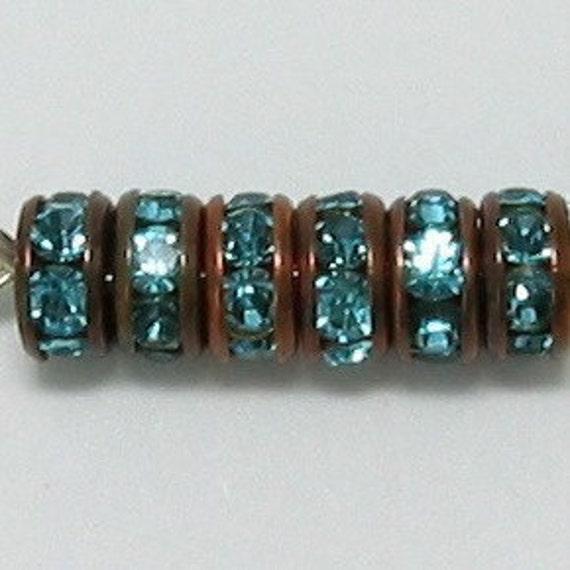 Rhinestone Rondelle Spacers, Copper Aqua, 6mm 6 Pc.C147