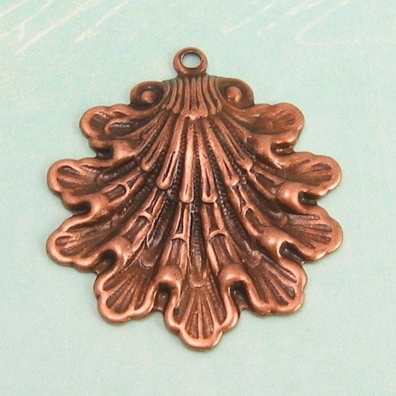 Antique Copper Seashell Pendant  2 Pc. AC8