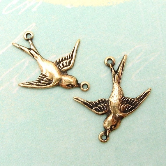 Small Bird Connector, Antique Gold, Trinity Brass, 1 Pair AG104