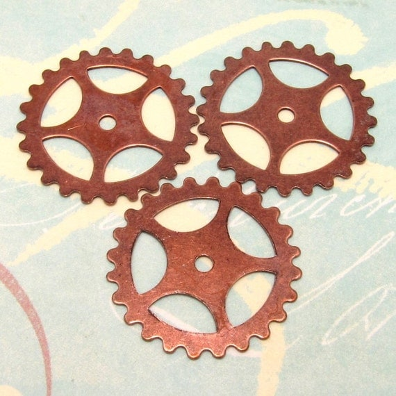 Steampunk Gear Antiqued Copper 1 Inch 3 Pc. AC71