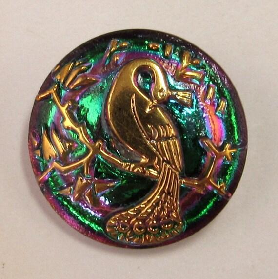 Czech Glass Button Pendant Peacock Green Fuchsia Gold 22mm C175