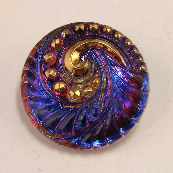 Czech Glass Button, Spiral, Blue Fuchsia Gold, 27mm With Pendant Converter C182