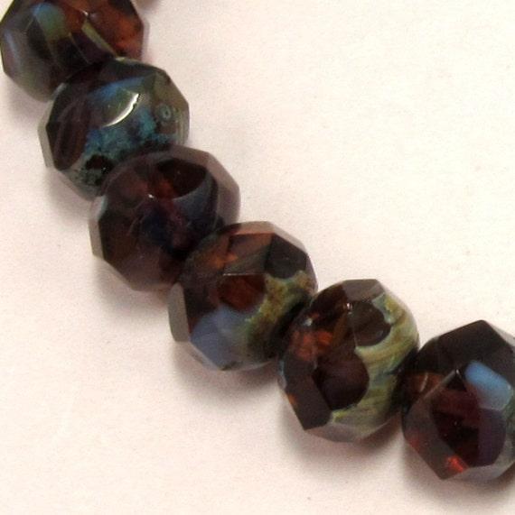 Czech Glass Beads 8 MM Rondell Amber Purple 12 Pc. C161