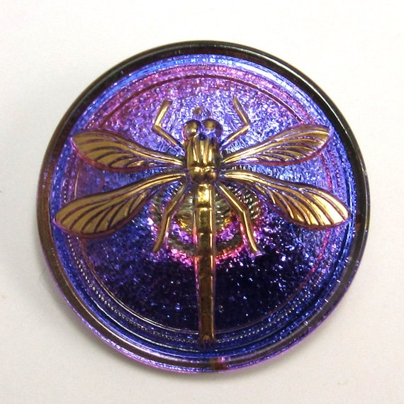 Czech Glass Button, Dragonfly, Royal Blue, Purple, Fuchsia, Gold, 31mm, With Pendant Converter C199