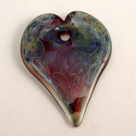 Lampwork Glass Heart Pendant Blue, Green, Gold, Red H5-1