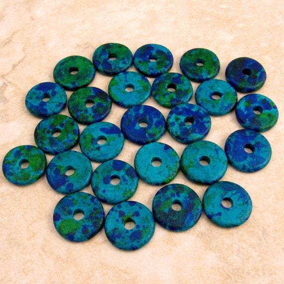 Mykonos Round Washer Greek Ceramic Beads 13mm Aegean Mix 25 Pieces M32