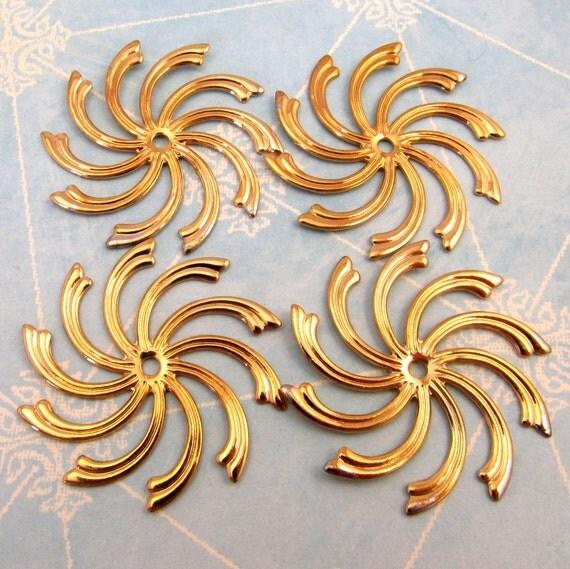 Pinwheel Brass Stamping, Antique Gold 4 Pc. K60