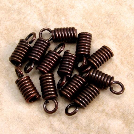 Mykonos Spring Cord End 2 MM Bronze, 12 Pieces M83
