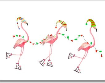 Flamingo Christmas cards, Tropical Christmas, 10 per greeted boxed set. funny Christmas cards. pink flamingo.