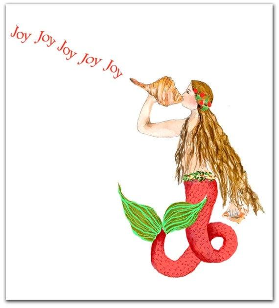 Mermaid Christmas cards. nautical Christmas cards. set of 10.
