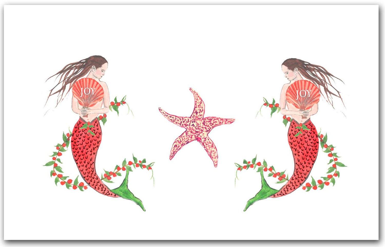 Mermaid Christmas cards. 10 per boxed set. nautical Christmas