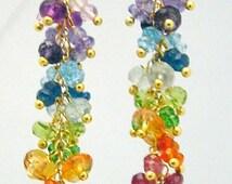 14K Gold gf rainbow gemstone london blue topaz  briolette  long chandelier earrings