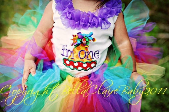 Ready to Ship size 12-18 months RAINBOW HOOTs Frills birthday hat monogrammed ruffle bodysuit tank for baby girl toddler