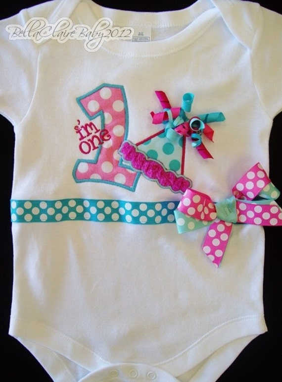 Ready to Ship size 6-12 months Birthday Bliss monogrammed birthday party hat short sleeved bodysuit for baby girl toddler