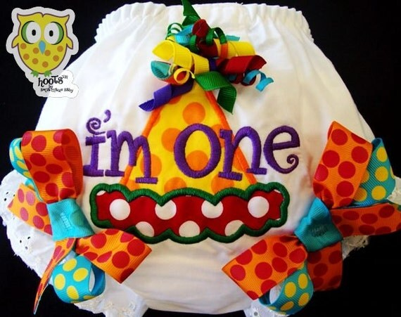 Ready to ship size 12-18 months RAINBOW HOOTs birthday hat monogrammed birthday bloomers diaper cover for baby girl toddler
