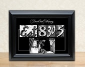 Wedding / Anniversary Framed 11x 14 Alphabet Photo Print - Customized Photo Letter Art - Your Date, Name and Picture