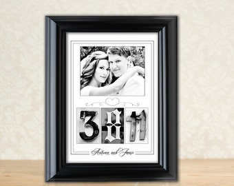 Your Wedding Date in an 11x 14 Alphabet Photo Date Print and Frame - Customized Photo Number Art - Your Date, Name and Picture