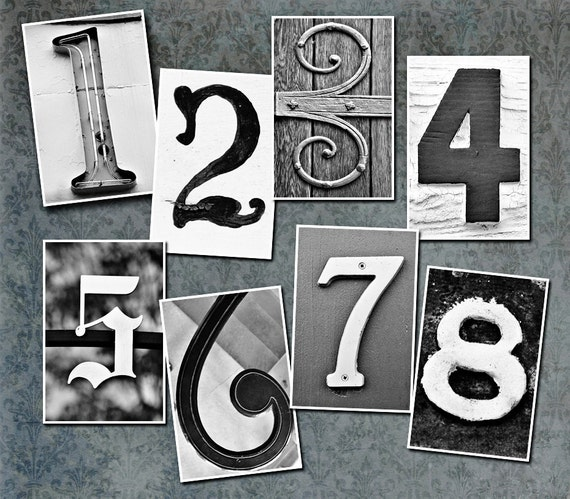 Table Number Cards - Set of 13 4x6 Photos Of Vintage Numbers