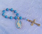 Teal with Fuschia accent Pocket Rosary with Vintage Madonna and Child Medal RESERVED FOR JANINE