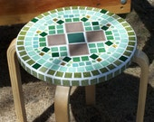Grouted Mosaic Glass and Ceramic Tile short Spring Green sitting and flower Bench