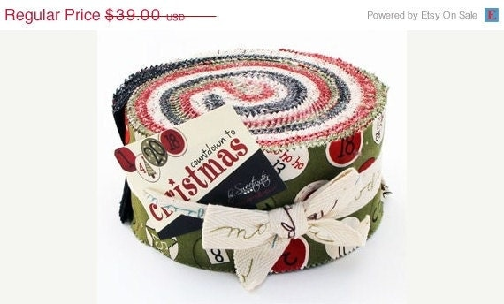 SALE Countdown to Christmas Jelly Roll Strips - Moda Fabrics sweetwater - last one