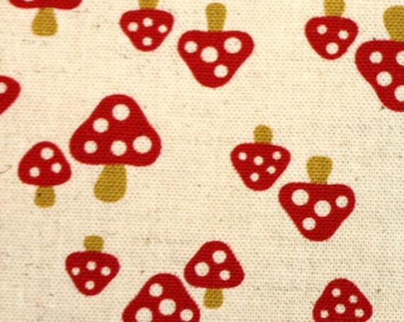 """last one 35"""" Mushroom Red Spotted Kokka Trefle Japanese fabric"""