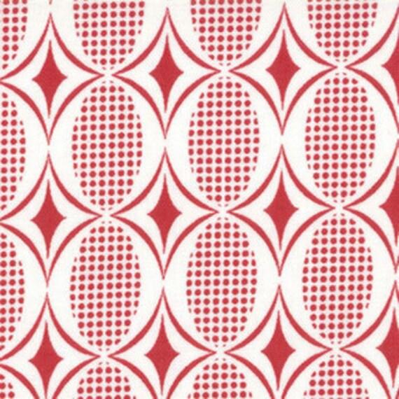 1y Half Moon Modern fabric Ruby Red Ovals