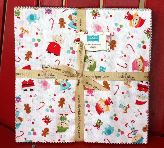 10 inch squares Santa's Workshop fabric by Riley Blake