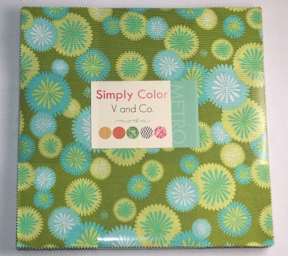 10 inch squares Layer Cake - SIMPLY COLOR  Moda Fabric by V and Co.