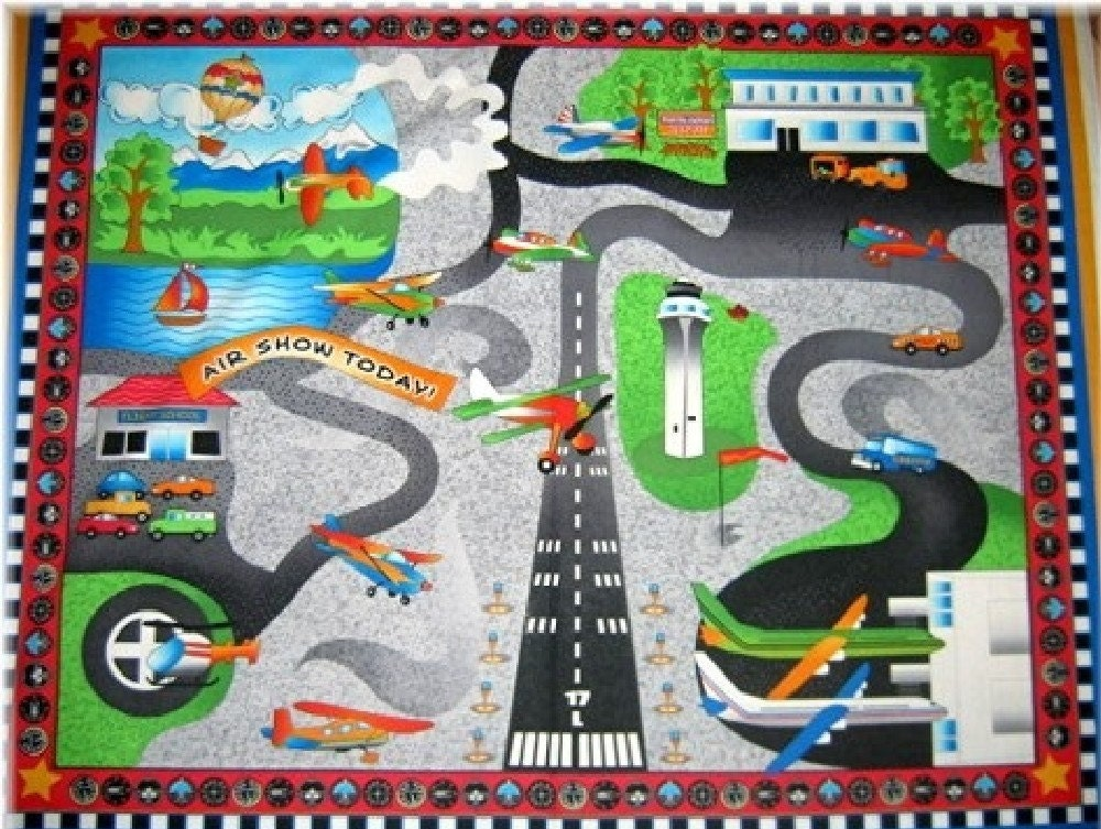 Airport Fabric Panel Airplane Quilt Playmat