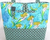 Handcrafted -BagZGirl-Ocean-Mermaids-underwater -Aqua-Totebag-Beach Bag-Michael miller/Neptune Tula pink