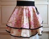 Pink Tea Cups-Tea pots -Pink Roses-Black -Romantic-Half Apron-Cottage Chic