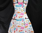 Colorful Kitty Cocktails -Black -White -Cats -Hostess -Modern -Full Apron