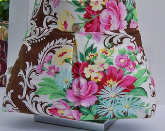 Victorian scrolls-Pink roses-Brown -Chocolate-Aqua floral -Shoulder bag-Crossbody-Handbag