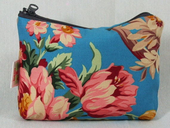 Pink Peonies-Floral Bouquet -Blue-Zippered Pouch, Cosmetic-Make up Bag- BagZGirl