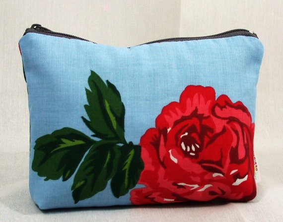 Red Roses -Blue- Vintage fabric -Zippered Pouch, Cosmetic-Make up Bag- BagZGirl