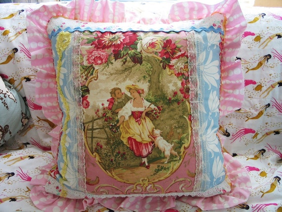 Victorian- Fragonard Couple-Cameo-Pink Roses -Pillow -Blue-Lace-Patchwork Romantic Chic -18 x 18 Pillow