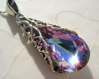 Filigree Wrapped Swarovski Vitrail Light Crystal Sterling Silver Necklace, Romantic, Bridesmaid, Wedding, Birthday