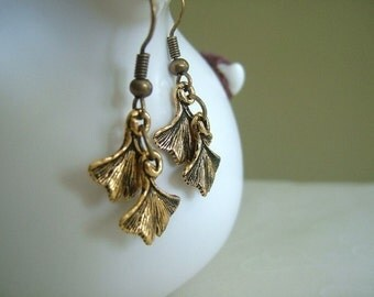 Fall Selected -- Ginkgo Leaves Earrings, Dainty Fish Hook Everyday Earrings, Chic, Autumn, Nature, Woodland Jewelry