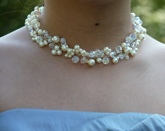 Swarovski Crystal Pearl Twisted Wire Necklace, Romantic, Bridal, Bridesmaid, Wedding