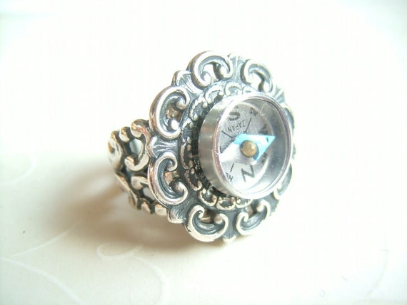 Silver Compass -- OOAK Vintage Inspired Antique Silver Compass Ring