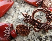 Carnelian Whimsy Bracelet - Very Large Faceted Genuine Carnelian Stones - Antiqued Copper Dragonfly Toggle Clasp
