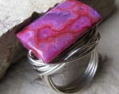 Fuschia Lace Artisan Ring - Pink Crazy Lace Agate Stone - Extreme Amounts STERLING SIlver Wire Wrapped - Custom Size